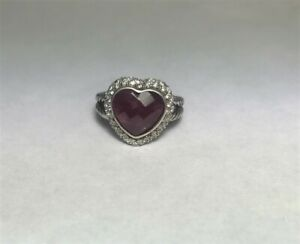 David Yurman Sterling Silver Midnight Ice Red Ruby Diamond Cable Shank Ring