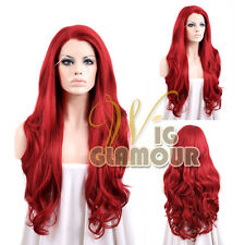 "Long Curly 26"" Dark Red Lace Front Synthetic Wig Wigglamour"