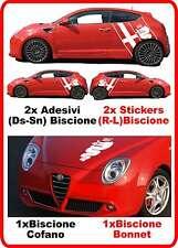 Adesivi MITO Stickers Sides  ALFA ROMEO Laterali Fiancate BISCIONE + COFANO