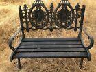 Vintage Ornate Cast Iron Bench With Victorian Backrest Gardening Design