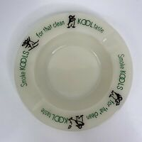 Vintage Milk Glass Kool Ashtray Smoke Kools for Clean Taste Penguins & Green MCM
