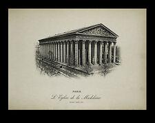 """Paris-""""Vues de Paris 1898"""" Photogravure """"La Madeleine."""" Neurdein-Freres"""
