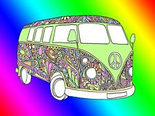 Work top saver, Glass Chopping board 40 x 30 VW Camper Van Hippy Flower design