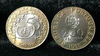PORTUGAL 200 ESCUDOS 50TH UNITED NATIONS 1995 BI-METAL UNC COIN