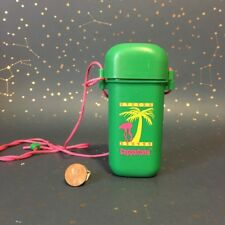VTG 80's Kitsch Coppertone Beach Case Necklace Mini Container Palm Trees