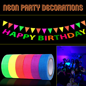 HAPPY BIRTHDAY Banner Neon Flourescent Bunting Garland Kids Adults Party Decor