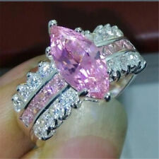 Vogue White Pink Topaz Gemstone Rings 925 Silver Women Lady Engagement Size 8
