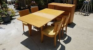 Heywood Wakefield Modular Drop Leaf Mid Century Dining Table With 4 Chairs M166