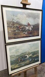 Pair of Victorian Hogarth Framed Hunting Prints 60x46cm