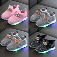 Kids Baby Boys Girls Cute Cartoon Sport Running LED Luminous Mesh Shoes Sneakers