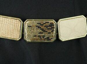 "Chicos Chain Belt 18-51"" Gold Metal Brown Faux Snake Skin Chunky OS L XL XXL 3X"