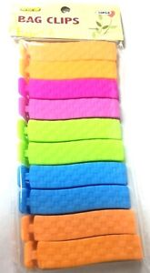 10x BAG CLIPS Assorted Colour Fastener/Pegs Seal Food Storage Fresh Bread/Cereal
