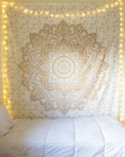 Indian White Gold Ombre Mandala Cotton Queen Size Tapestry Bohemian Wall Hanging