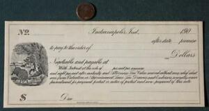 1900s Indianapolis Indiana Official State Seal Blank Promisory Bank Note-SCARCE!