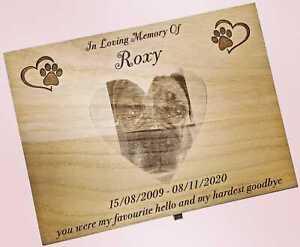 Heart Shaped Photo Engraved Urn Pet Dog Cat Wood Casket Cremation Personalised