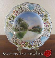 Old Souvenir China Pierced Plate Royal Poinciana Gardens Hotel Palm Beach FL