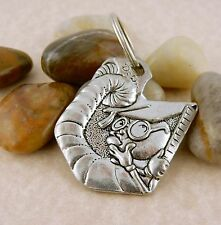 Bookworm double sided Pewter Keychain, Once Upon a Time storybook