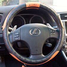 "New 15.25"" Steering Wheel Cover Black & Orange PVC Leather 51007L Large Audi BMW"