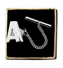 """Mens Boxed Silver Tone Initial Letter Tie Tack Tac """"A"""""""