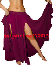 New Chiffon 2 Slit Full Circle Skirt Belly Dance Gypsy Club Tribal Jupe Costumes