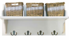 Wicker Storage Unit With 3 Baskets Coat Hooks Hangers