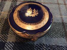 Beautiful Large Limoges Cobalt La Reine Trinket Pot