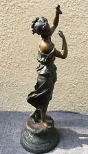 "22"" Vintage Bronze Dancing Girl Figure Figurine Art Deco - Chiparus name on base"