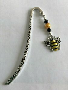 Cute BUMBLE BEE  BOOKMARK Tibetan Silver Enamel Charm Present In Gift Bag