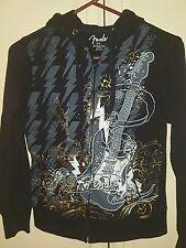 2-Sided FENDER Guitar Zipper Hooded Sweatshirt w/Kangaroo pockets Girl's Medium