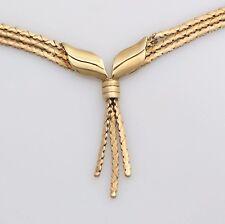 """Vintage 9ct Gold Lamme Tassle Necklace 9.8g 17"""" Hallmarked Scrap Repair Wear"""