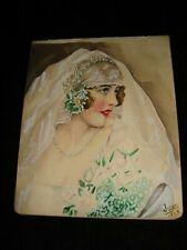 "Beautiful Woman Portrait Original Watercolour by ""Juan"" 1928"