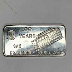 San Francisco Cable Cars 1oz .999 Fine Silver Bar - Private Mint