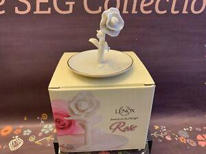 Lenox Rose Blossom Ring Holder NIB Gold Trim
