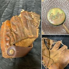 Vintage 1940s Rawlings Leather Three Finger Baseball Glove Strap Button Rare