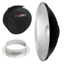 55cm Silver Studio Beauty Dish Multiblitz V Fitting with Padded Case Rigid Carry