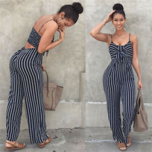 Elegant Striped Sexy Spaghetti Strap Rompers Womens Sets Sleeveless Backless Bow