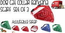 Dog Collar Bandana Scarf Adjustable SET OF 3 Red Green & Blue New Free Delivery