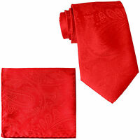 New Men's Polyester Woven Neck Tie necktie & hankie set Red paisley wedding