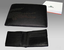 New Authentic LACOSTE Large Billfold LEATHER WALLET Punched Croc 4 Black