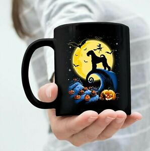 Funny Airedale Terrier Dog Halloween With Moon Pumpkin Silhouette Mug 11oz Black