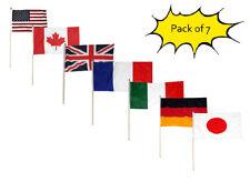 "Set of 7 USA Canada UK France Italy Germany Plain Japan 12""x18"" Desk Flags"