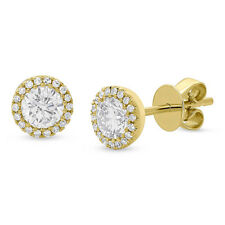 0.90 TCW 14K Yellow Gold Natural Round Cut Brilliant Diamond Halo Stud Earrings