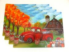 Fall Red Truck Apples Placemats Barn Harvest Autumn Vinyl Foam Back Set of 4