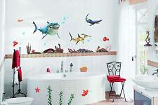 Wandtattoo Wandsticker Baby Kinder Spiel Zimmer Fische Meeresboden Neu