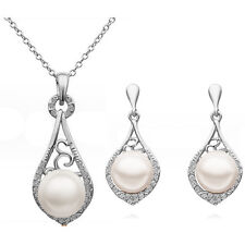 Vintage Wedding Queen Jewellery Set Silver White Pearls Necklace & Earrings S604