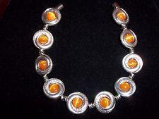 Tibetan SILVER Orange CATS EYE Bead Bracelet MAGNETIC Clasp A-14 Quality Jewelry