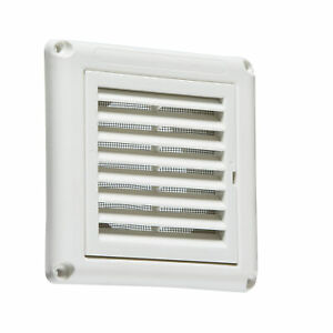 "Knightsbridge 100mm/4"" Extractor Fan Grille With Louvred Vent Fly Screen White"