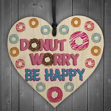Donut Worry Be Happy Wood Heart Friendship Gift Sprinkles Pink Pop Art Hanging