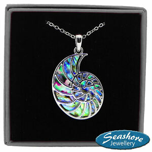 "Fossil Necklace Paua Abalone Shell Ammonite Pendant Silver Fashion Jewellery 18"""