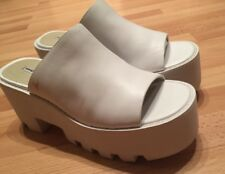 WINDSOR SMITH DRAGON WOMENS WHITE LEATHER CHUNKY HEEL SLIDES SHOES  6.5 NEW